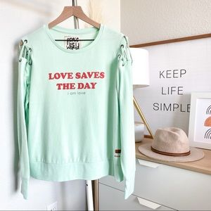 Peace Love World Mint Green Cinthia Top Sweatshirt